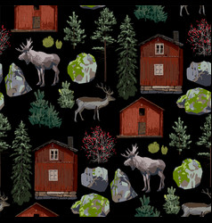 Collection wooden houses coniferous trees vector