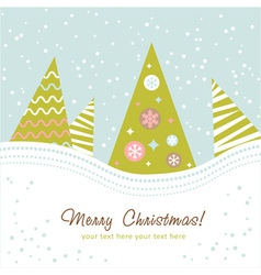 Colorful design Christmas tree with xmas toys vector image