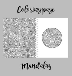 Coloring page design with mandalas vector