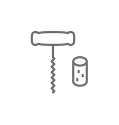 corkscrew wine with cork line icon vector image