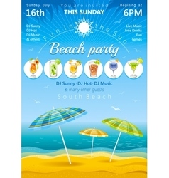 Day beach poster with umbrellas and cocktail icons vector