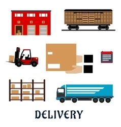 Delivery and storage service flat icons vector