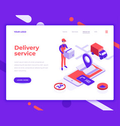 delivery service people and interact with truck vector image