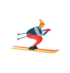 experienced skier on fast skis moving downhill vector image