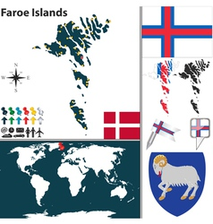 Faroe Islands map world vector