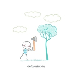 felling trees vector image