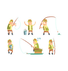 Fisherman catching fish with fishing rod set vector