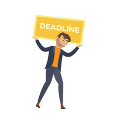 flat businessman with heavy deadline vector image