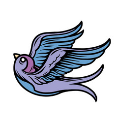 flying swallow colorful tattoo concept vector image