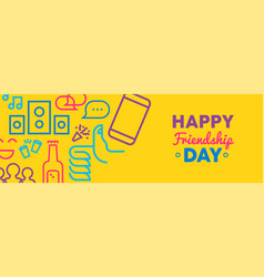 Friendship day social media friend icon web banner vector
