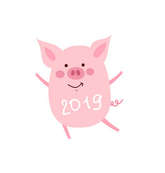 funny card design with cartoon pig with cup of vector image