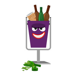 Garbage monster face can with glass vector