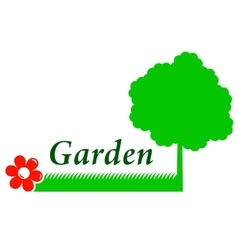 Garden background with tree grass and flower vector