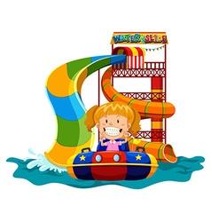 Girl playing on water slide vector image