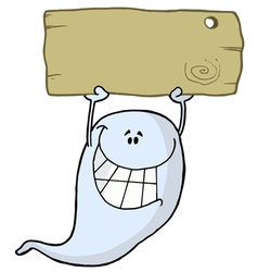 Grinning Ghost Holding Up A Blank Wooden Sign vector