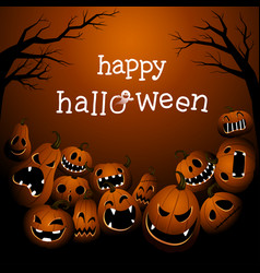 halloween background with scary pumpkin monsters vector image