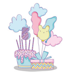 Happy birthday with balloons and cake with candles vector