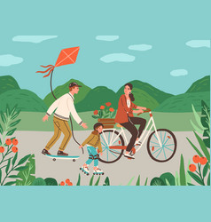 happy family spend time together outdoors riding vector image