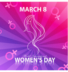 Happy women day for lady face with background colo vector