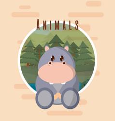 Hippo cute animal card vector