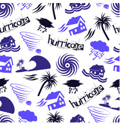 Hurricane natural disaster problem icons seamless vector