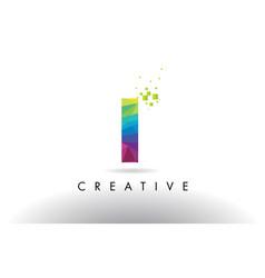 I colorful letter origami triangles design vector