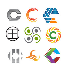 initial letter c logo pack vector image