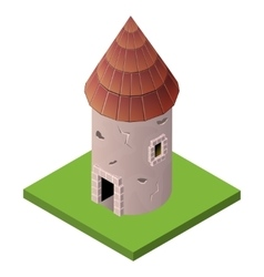 Isometric icon of medieval tower vector