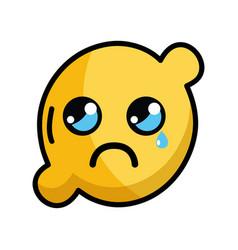 Kawaii cute crying lemon fruit vector