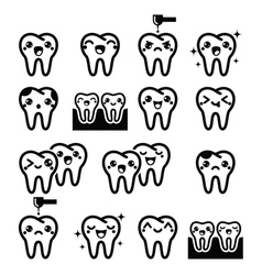 Kawaii Tooth cute teeth characters - black vector image