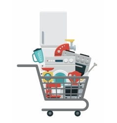 Kitchen appliances in shopping cart vector