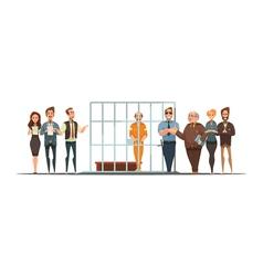 Law Justice Sentence Retro Cartoon POster vector