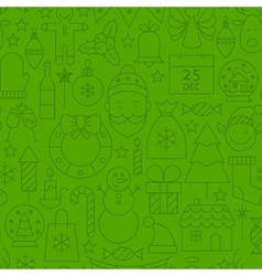 Line Christmas Green Seamless Pattern vector image