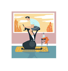 Male sportsman activity exercise bike man vector