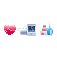 Medical equipment and device icon set heart with vector