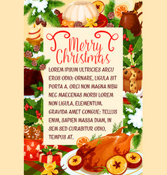 Merry christmas dinner cuisine poster vector