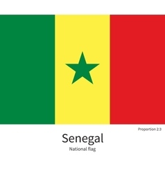 National flag of Senegal with correct proportions vector