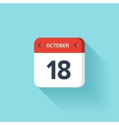 October 18 Isometric Calendar Icon With Shadow vector image