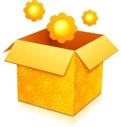 Orange gift box with yellow flowers vector image