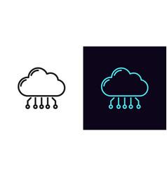Outline cloud hosting icon linear cloud service vector