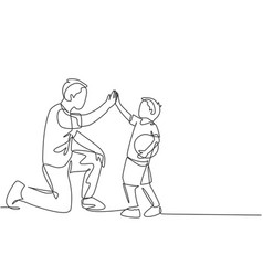 Parenting family care concept one line drawing of vector