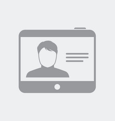 Personal user profile on tablet vector