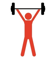 Pictogram colorful with man weightlifting up vector