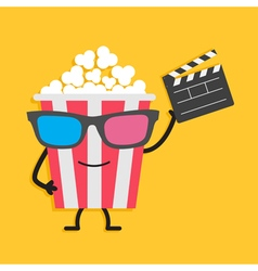 Popcorn box in 3d glasses character with face legs vector