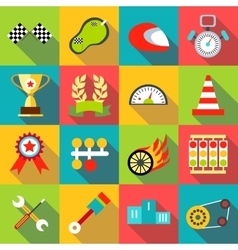 Racing icons set flat style vector image