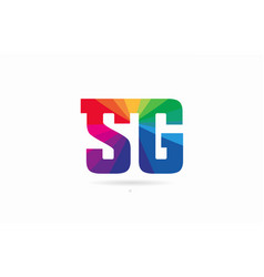 Rainbow colored alphabet combination letter sg s vector