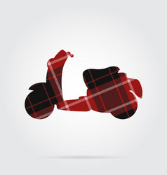 Red black tartan isolated icon - scooter vector