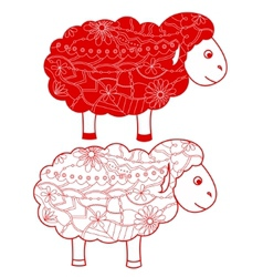 Red sheep vector