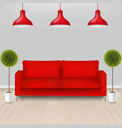 Red sofa with lams with grey background vector