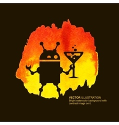Robot and drink vector image